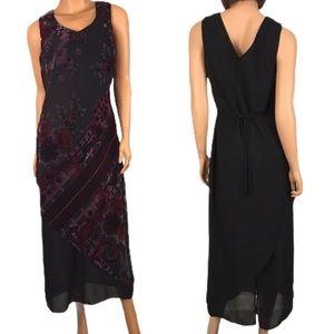 Vintage 90's Black Berry Floral Dress Sheer 10